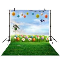 Funnytree 5x7ft Spring Easter Green Grass Photography Backdrops Colorful Eggs Blue Sky White Clouds Bird Cage Flower Background for Kids Newborn Baby Pictures Photo Studio Photobooth