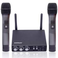 EXMAX K28 Wireless Bluetooth UHF Microphone System with Echo, Microphone Priority Mode, Dual Channel Receiver Handheld Mic Set for Home Karaoke, KTV, Singing, Party, DJ, Church, Presentation, Wedding