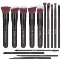 BS-MALL(TM) Premium 14 Pcs Synthetic Foundation Powder Concealers Eye Shadows Makeup Brush Set(Black Black)
