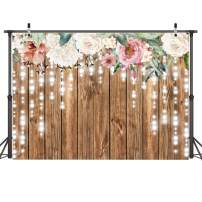 AIIKES 7x5ft Floral Backdrop Rustic Wooden Wall Party Background Flower Wedding Retro Wood Floor Photography Backgrounds Glitter Flower Bridal Shower Baby Birthday Backdrops Photo Booth Props 11-562