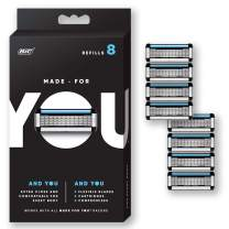 Made for YOU by BIC Shaving Razor Blades for  Every Body -  Men and Women, 8 Count - Refill Cartridges with 5 Blades for a  Close Shave with Aloe Vera and Vitamin E for Smooth Glide