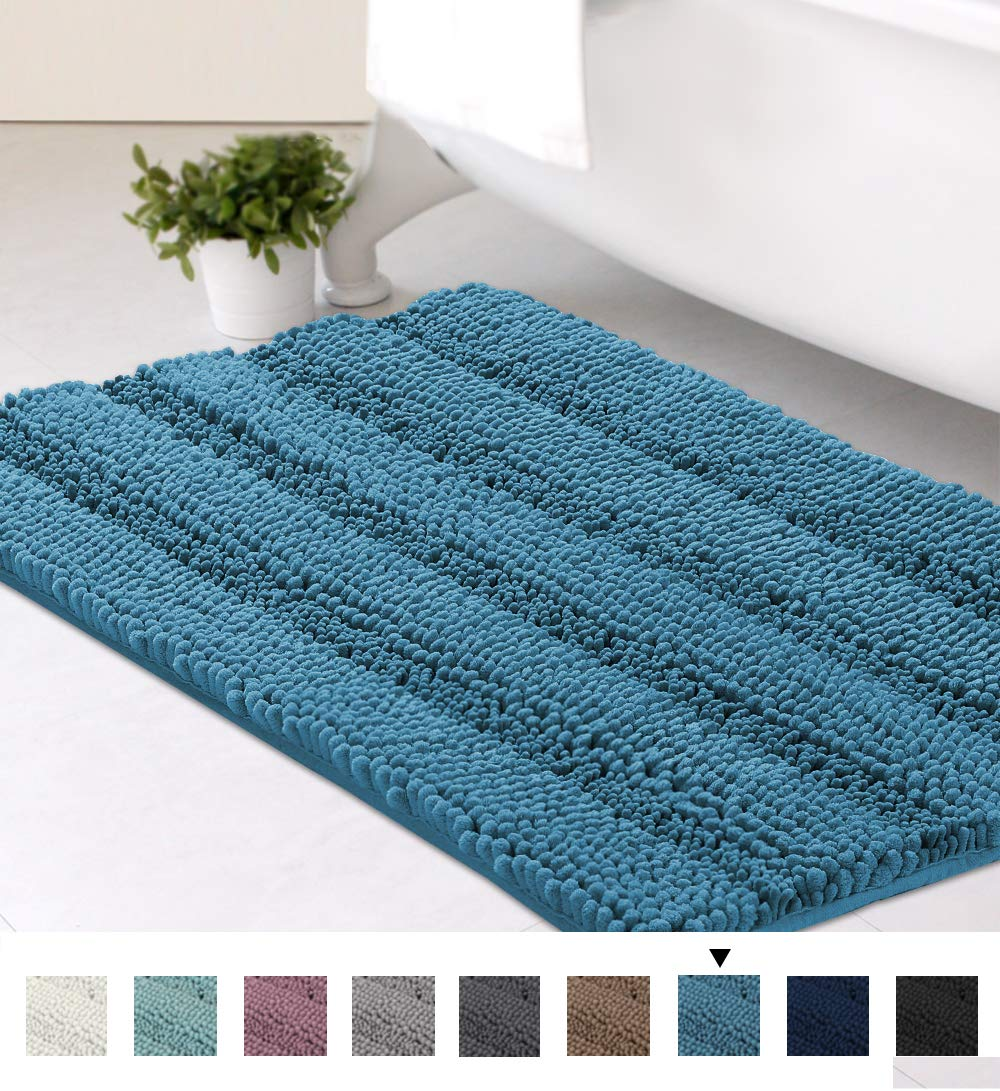 Striped Luxury Chenille Bathroom Rug Mat 20x32 Inch Extra Soft and Absorbent Shaggy Rugs Dry Quickly Plush Rug Carpet for Tub/Toilet/Shower Machine Washable, Turquoise Blue