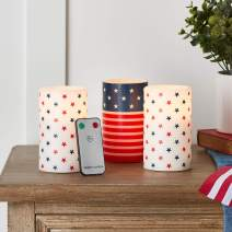 Lights4fun, Inc. Set of 3 Patriotic American Flag Flameless LED Battery Operated Pillar Candles with Remote Control
