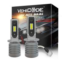VehiCode H3 LED Headlight Bulbs Slim Conversion Kit (Fog Light Bulb) - High Power 6-CSP 2121 LED - 5500lms 6000K White Projector High/Low Beam Plug-N-Play Fanless Car Motorcycle Replacement (2 Pack)