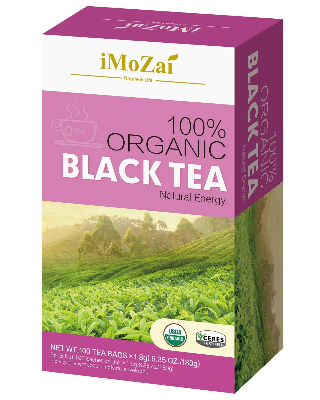 Imozai Organic Black Tea Bags 100 Count Individually Wrapped