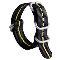 NATO Zulu Watch Strap Thick G10 Premium Ballistic Nylon Replacement Watch Bands for Men 18mm 20mm 22mm 24mm with Military Heavy Duty 5 Rings Stainless Steel Buckle