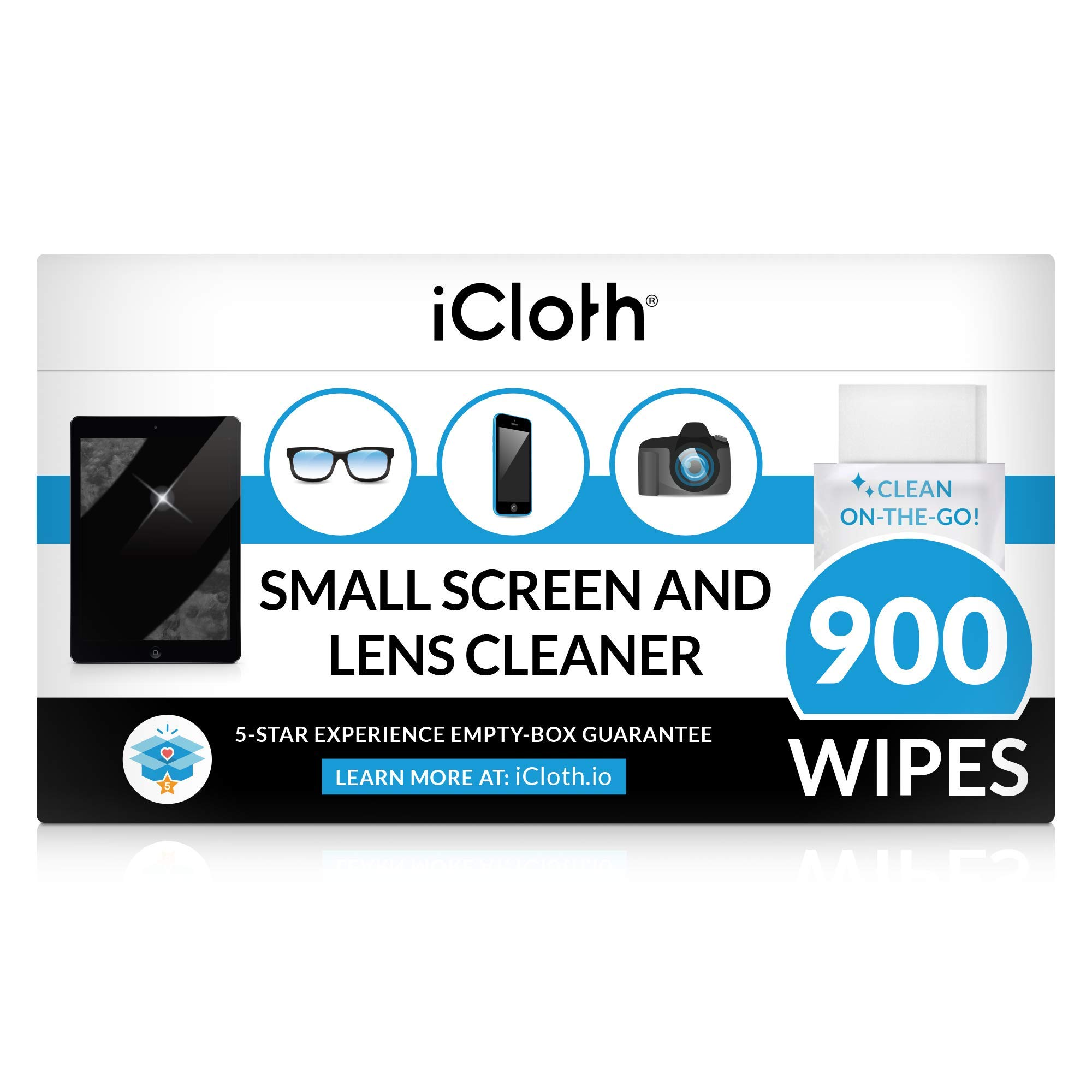 iCloth Lens and Screen Cleaner Pro-Grade Individually Wrapped Wet Wipes, Wipes for Cleaning Small Electronic Devices Like Smartphones and Tablets, Box of 900