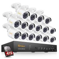Anlapus 16CH H.265+ Wired Home Security Camera System, 16 Channel 1080p 5-in-1 DVR 4TB HDD with 16pcs 2MP HD Weatherproof Home Surveillance Bullet Cameras for 7/24 Recording