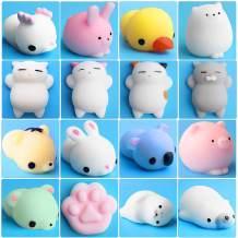 Outee 16 Pcs Mochi Animals Toys Mochi Cat Stress Relief Toys Mochi Animals Toys Mini Animals Cat with Felt Bag