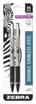 Zebra 54012 Stainless Steel Mechanical Pencil, 0.5mm Point Size, Standard HB Lead, Black Grip, 2-Count