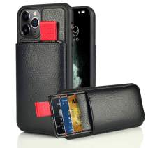 "LAMEEKU iPhone 11 Pro Max Wallet Case, 6.5"" iPhone 11 Pro Max Card Holder Case Shockproof Leather Credit Card Slot Holder Cover Money Pocket,Protective Cover for iPhone 11 Pro Max 6.5"" - Black"