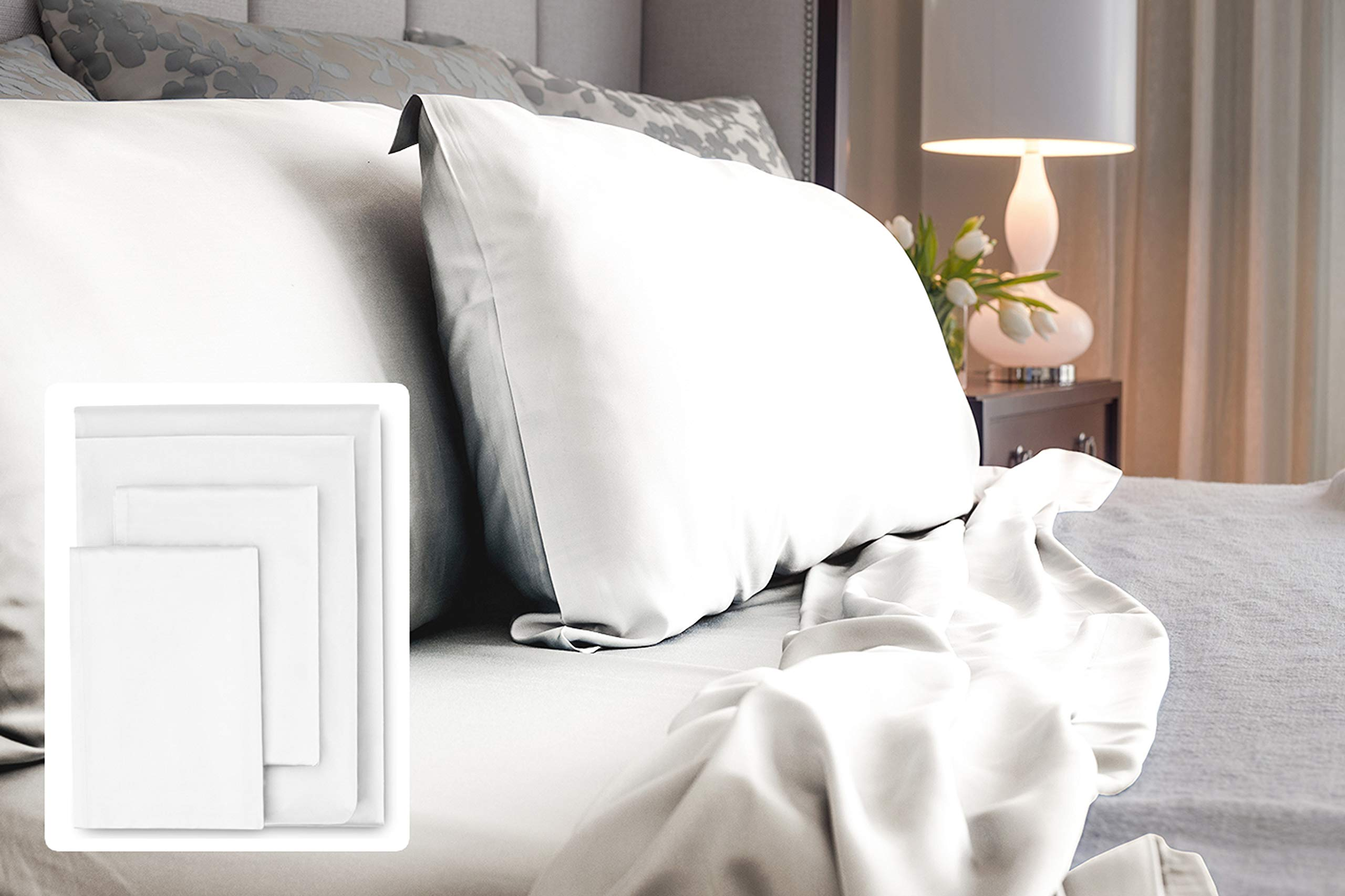 LUXOME 100% Bamboo Sheet Set | King Size | 400tc Luxury Bamboo | White | 4-Piece Set (Fitted, Flat, 2 Pillowcases)