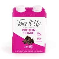 Tone It Up Ready to Drink Vegan Chocolate Protein Shake   10g Pea Protein   Organic Plant Based Non GMO   Lean Muscle Nutrition   Great for Meal Replacement and Clean, Energizing Snack