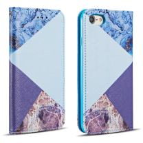 "ZCDAYE Wallet Case for iPhone 6 Plus 6S Plus,[Granite Marble Pattern] Magnetic Closure PU Leather Folio Flip Case Cover with[Card Slots][Kickstand] for iPhone 6 Plus/6S Plus 5.5"" -Blue"