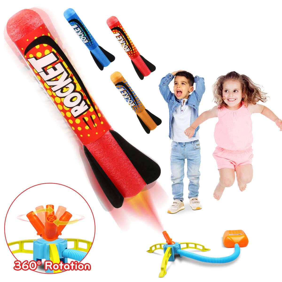 Duckura Jump Rocket Launchers for Kids, Outdoor Play with 3 Rockets, Summer Activities Games Sport Toys Gifts for Boys Girls Toddlers Age 3 4 5 6 and Up