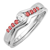 Dazzlingrock Collection 18K Ruby And White Diamond Promise Engagement Wedding Ring Set, White Gold