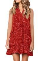 Chunoy Women Sexy Party V Neck Sleeveless Summer Ruffles Lace Trim Hem Mini Dress Red Medium
