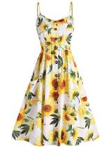 retro stage Women Lemon Printed Halter Swing Vintage Style Dress