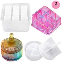 Box Resin Molds, Silicone Jewelry Box Molds with 9-Slot Epoxy Resin Molds, Round Trinket Box Molds for Making Resin Box