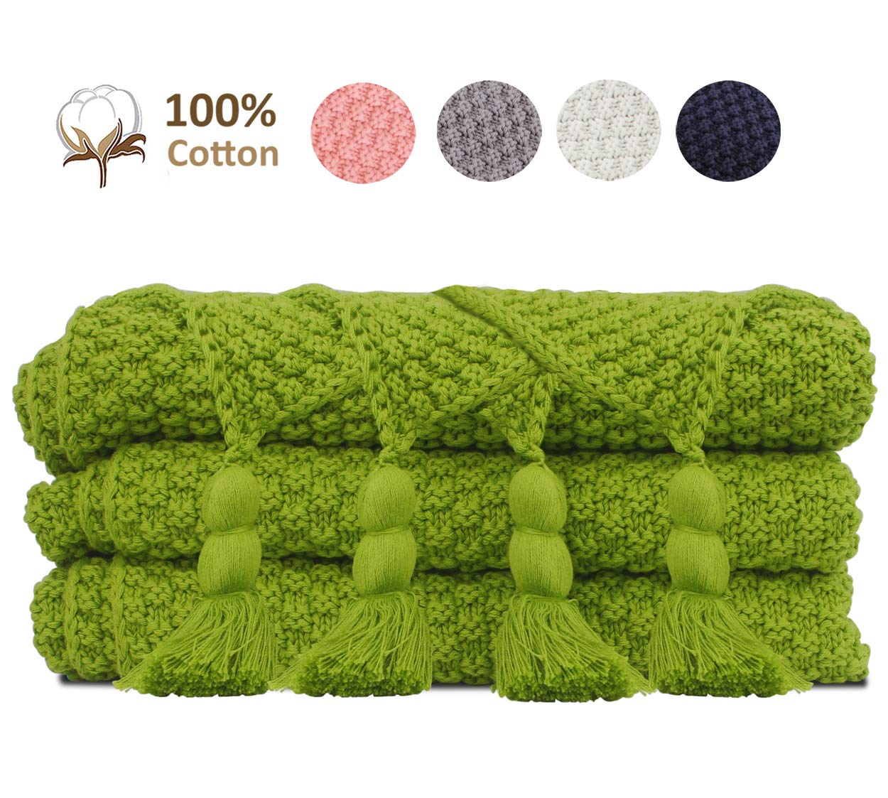 JSHANMEI Super Soft Knit Throw Blanket, Cozy 100% Cotton Blanket Home Decor Bedding Blankets with Handmade Tassels for Couch Sofa Bed Beach Picnic 51x70