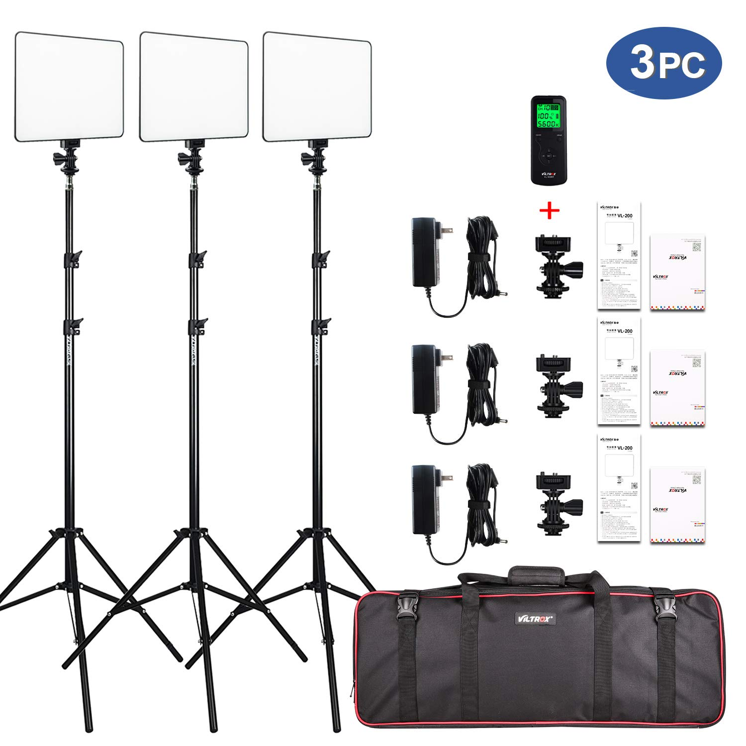 VILTROX VL-200 3 Packs Ultra Thin Dimmable Bi-Color LED Video Light Panel Lighting Kit Includes: 3300K-5600K CRI 95 LED Light Panel with Hot Shoe Adapter/Light Stand/Remote Controller and AC Adapter