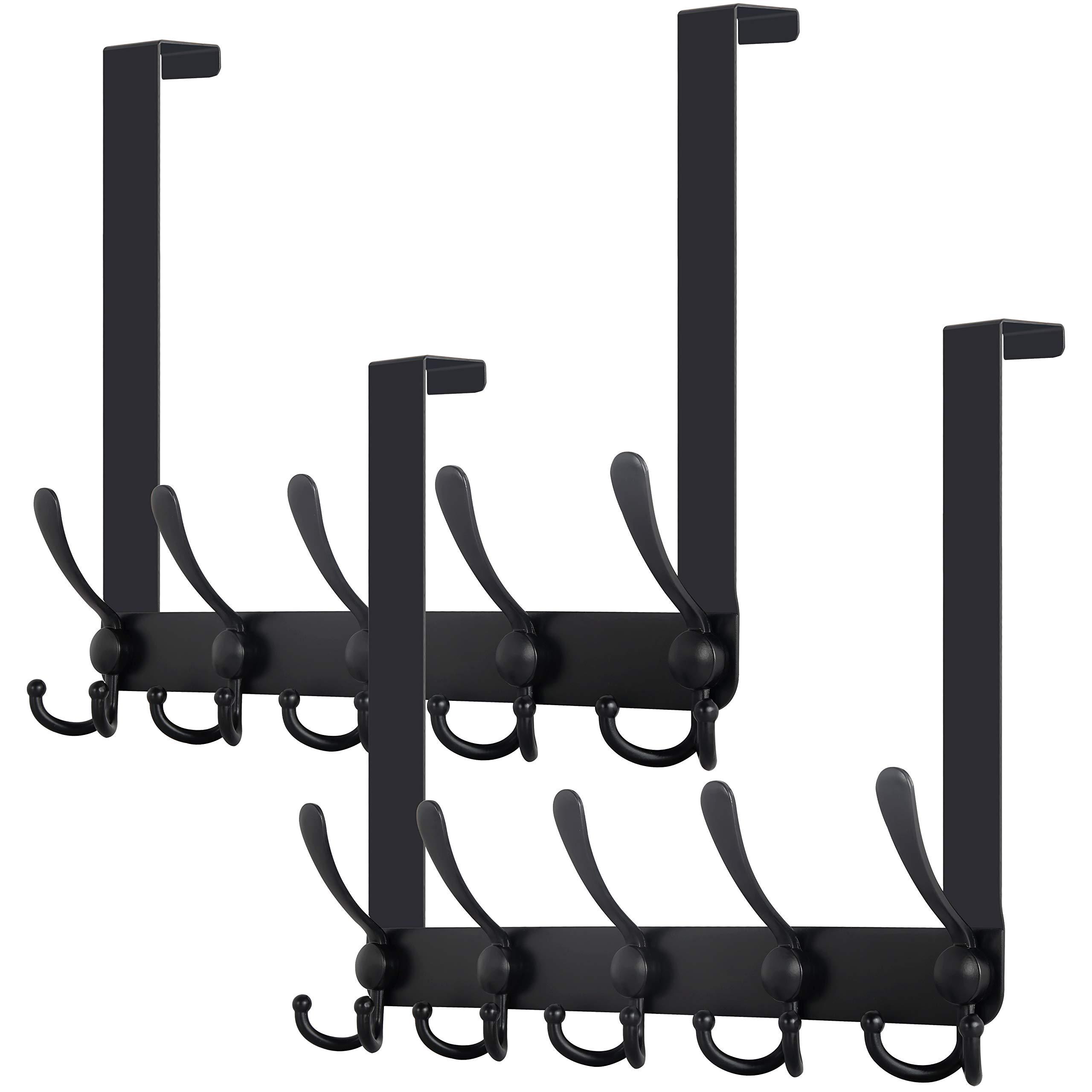 WEBI Over The Door Towel Rack,Over The Door Hook with 5 Triple Hooks for Hanging,Door Hanger Over Door Coat Rack Towel Hanger for Towels,Clothes,Bathroom,Black,2 Packs