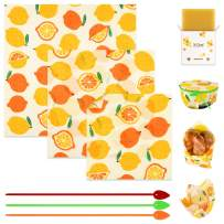 X-Chef Reusable Beeswax Food Wrap, Bees Wax Paper Wrap, Organic Eco-Friendly Sustainable Food Storage Wrappers for Sandwich or Bowl Cover with a Wax Bar, 3 Silicone Ties & Polishing Cloth, 3 Pack