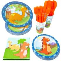 Blue Orchards Little Dinosaur Party Supplies Packs (113+ Pieces for 16 Guests!), 1st Birthday Tableware, Dinosaur Party Supplies, Dinosaur Baby Shower Supplies
