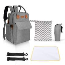 Diaper Bag Backpack, Cofunia Multifunctional Travel Waterproof Backpack with Changing Padand Cloth Diaper Wet-Dry Bag for Baby Care, Durable and Stylish Baby Bag for Mom and Dad.
