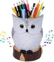J JHOUSELIFESTYLE Owl Music Box with Brush Holder Function and Free White Pearl, White Owl Rotating as Music Plays, Great Owl Lover Gifts for Women Girls as Pencil Pen Holder for Desk - White