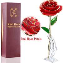 AMENON 24K Gold Dipped Rose Real Rose for Her Everlasting Rose for Mom, Wife, Women Wedding Proposal Birthday Presents(with Moon Stand, Gift Box)