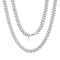 """ChainsPro 14-30"""" Mens Sturdy Miami Cuban Chain Necklace, 5/7/9/12MM Width, 316L Stainless Steel/18K Gold Plated-Durable Clasp (Send Gift Box)"""