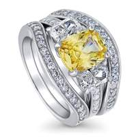 BERRICLE Rhodium Plated Sterling Silver Canary Yellow Cushion Cut Cubic Zirconia CZ 3-Stone Anniversary Engagement Wedding Ring Set 4.58 CTW