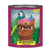 """Mudpuppy Frida Catlo Artsy Cat Puzzle Tin, 100 Pieces, 12""""x12"""" – Perfect Family Puzzle for Ages 6+ - Colorful Feline Portraits Inspired by Great Artists – Paint Can Package – Fun Indoor Activity"""