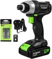 """Impact Driver, 20V Lithium Ion 1/4"""" Hex Cordless Impact Driver with LED Work Light, 6pcs Screwdriver Bits, Variable Speed (0-2800RPM)- 1.3Ah Battery and Charger Included"""