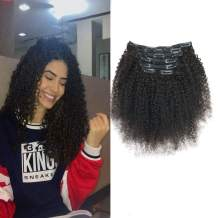 """viviaBella Afro Kinky Curly Clip in Hair Extensions 20 Inches 120 Gram Net Human Hair Natural Black Color Can Be Dyed Double Weft Brazilian Virgin Hair 7 Pieces 16 Clips (120g 20"""", Natural Black K C)"""