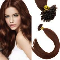 Sunny Human Hair Auburn U Tip Extensions Color #33 Dark Auburn Brown U Tip Keratin Extensions Hot Fusion Human Hair 20inch 50strands Per Pack