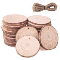 """SanGlory Unfinished Wood Slices 30Pcs 2.4""""-2.8"""" Natural Craft Wood Circles with Hole Predrilled Blank Wood Burning Discs Wooden Ornaments with 33Ft Twines for DIY Crafts Christmas Hanging Decoration"""