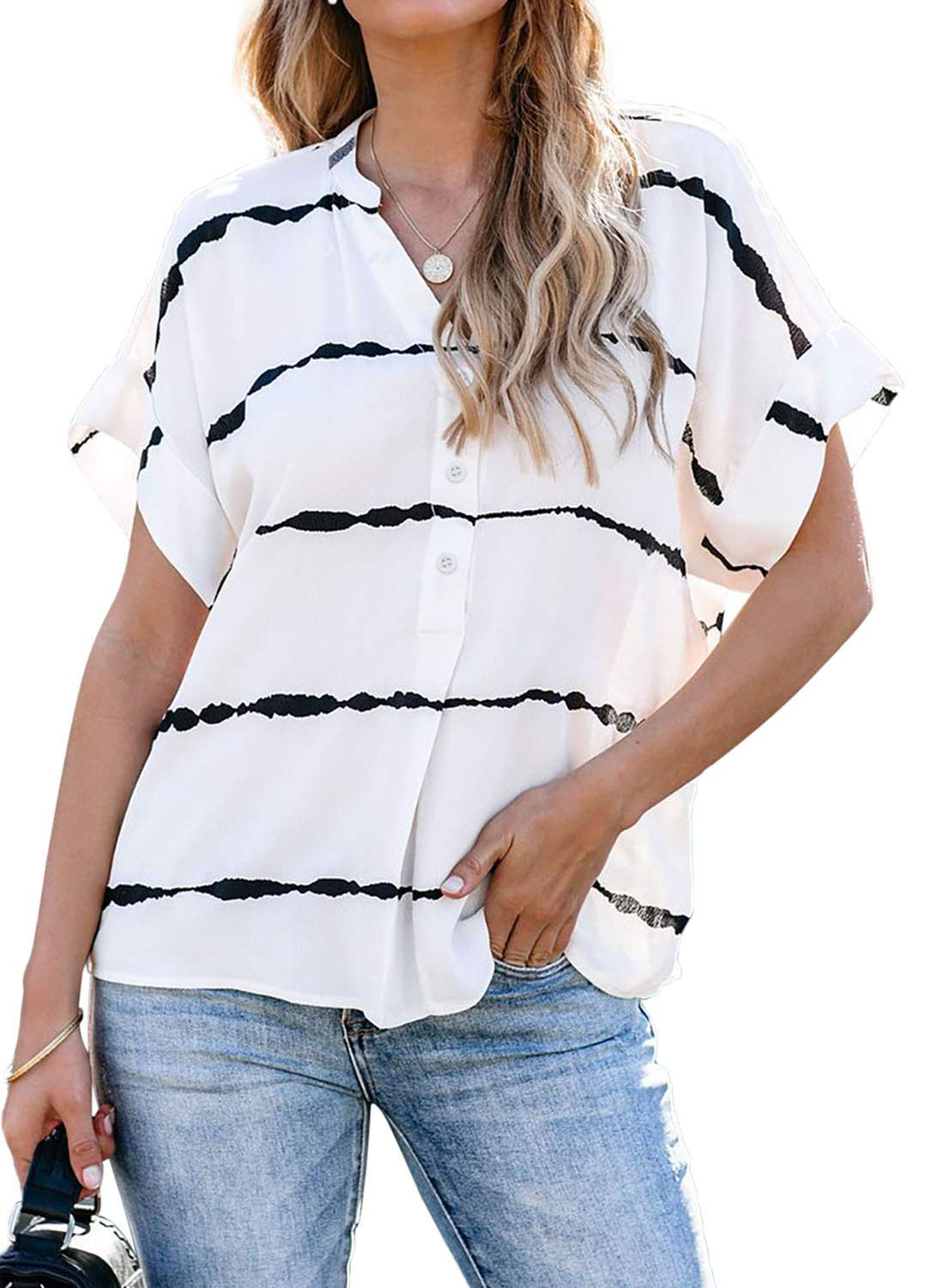 Chase Secret Women's V Neck Collared Tunic Shirts Roll up Sleeve Button Down Blouse Striped Tops with Pockets