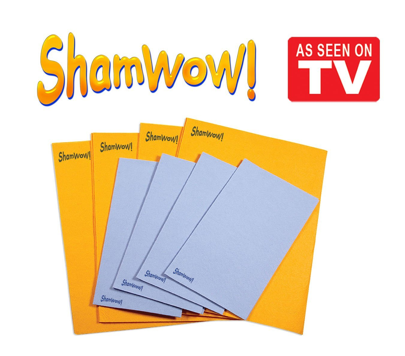 The Original Shamwow - Super Absorbent Multi-purpose Cleaning Shammy (Chamois) Towel Cloth, Machine Washable, Will Not Scratch (8 Pack: 4 Large Orange and 4 Small Blue)