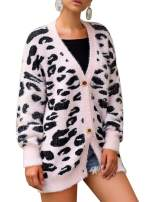Imily Bela Womens Oversized Leopard Print Cardigan Sweaters Fall Long Sleeve Fuzzy Chunky Coat
