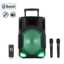 Starqueen 15Inch Trolley Bluetooth PA Speaker with 2 Wireless UHF Microphones, Battery Powered Rechargeable Karaoke DJ Speaker with Led Lights, Active Loud Digital Sound Box, FM/MP3/USB/TF Card/AUX