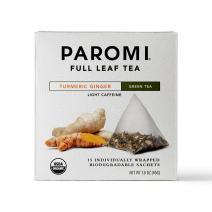 Paromi Tea Organic Turmeric Ginger Green Tea, Non-GMO, 15 Pyramid Tea Bags (Pack of 6)