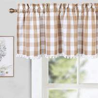 CAROMIO Buffalo Plaid Valances for Windows, Buffalo Check Gingham Pom Pom Valance Curtains for Kitchen Windows Cafe Curtains, Tan, 52x15 in