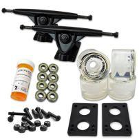"Yocaher Longboard Skateboard Trucks Combo Set w/ 71mm Wheels + 9.675"" Polished/Black Trucks Package"