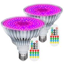 MZVUL 100W LED Grow Light Bulb, Timer Setting 186 LED Full Spectrum Indoor Plant Light Bulb with 3 Modes Auto On/Off for Indoor Garden Flowers Vegetables Greenhouse Hydroponic Growing (2 Pack)