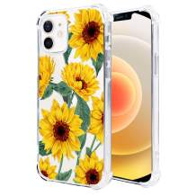 Hi Space Clear Case Compatible with iPhone 12 Case & iPhone 12 Pro Case 2020 6.1 Inch, Sunflower Yellow Flower Floral Ultra Slim Transparent Flexible TPU Bumper Shockproof Protective Phone Cover