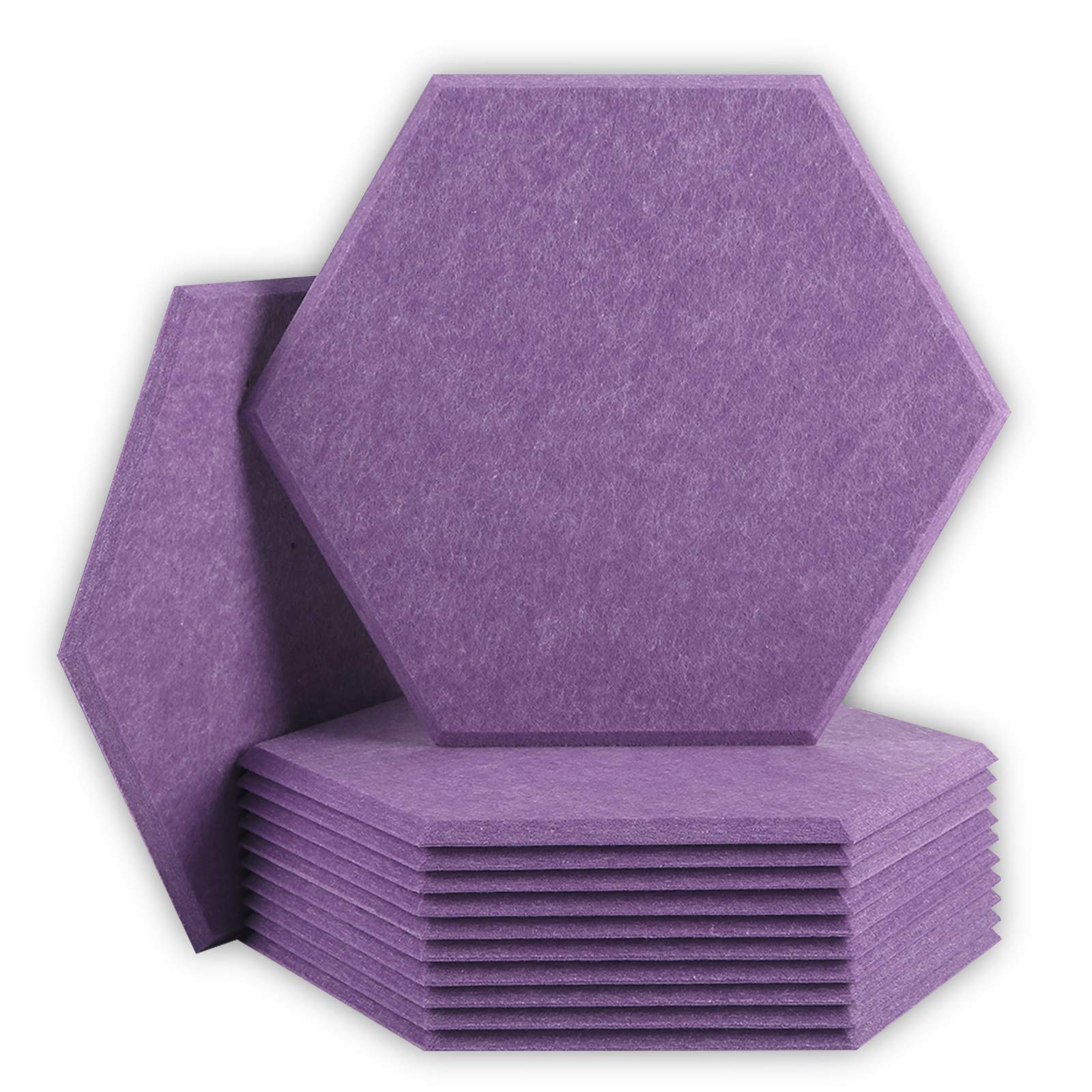 BUBOS 12 Pack Hexagon Acoustic Panels Soundproof Wall Panels,14 X 13 X 0.4Inches Sound Absorbing Panels Acoustical Wall Panels, Acoustic Treatment for Recording Studio, Office, Home Studio,Purple