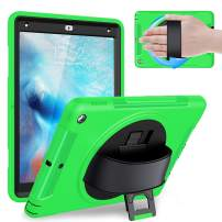 Weuiean iPad 6th/5th Generation 2018 2017 Case, Full-Body Shock/Drop Proof Case with 360 Rotating Hand Strap, Screen Protector, Stand, for iPad 6th/5th 9.7 (A1893 A1954 A1822 A1823) - Green