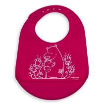 modern-twist Bucket Bib 100% plastic free silicone waterproof, adjustable, dishwasher safe, Bucket Bib, Pink Bears